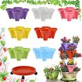 CHAOMIC Stackable Garden,Stand Stacking Planters Strawberry Planting Pots,Vegetable Melon Fruit Planting Pot Tower Garden Growing System Indoor Outdoor Vertical Garden Planter (Colorful 7 Layer)