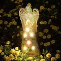 Garden Figurines, Solar Angel Statues for Garden, Angel Garden Statue Outdoor, Creative Resin Fairy Solar Garden Sculpture with 6 Solar Lights for Patio Yard Lawn Ornaments Indoor Outdoor Home Garden