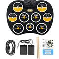 Electronic Drum Set Portable Electronic Drum Pad Roll Up Drum Pad 9 Labeled Pads and 2 Foot Pedals Touch Sensitive Drum Sticks Kit with Headphone Jack for Kids or Beginner or Adults incomparab