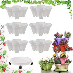 CHAOMIC Stackable Garden,Stand Stacking Planters Strawberry Planting Pots,Vegetable Melon Fruit Planting Pot Tower Garden Growing System Indoor Outdoor Vertical Garden Planter (White 6 Layer)