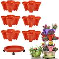 CHAOMIC Stackable Garden,Stand Stacking Planters Strawberry Planting Pots,Vegetable Melon Fruit Planting Pot Tower Garden Growing System Indoor Outdoor Vertical Garden Planter (Red 6 Layer)