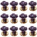 12Pcs Handmade Rose Design Vintage Style Decorative Ceramic Cabinet Knob Cupboard Drawer Pull Handle Used for Cabinet, Drawer, Chest - Purple,Hardware Accessories