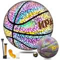 """Basketball, KPASON Holographic Basketball Reflective Glow in The Dark Basketball Indoor Outdoor Official Size 7(29.5"""") Composite Leather Basketball with Pump for Kids & Adults"""