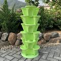 WSCQ A Set of 6 Vegetable Strawberry Stackable Planters, Stand Stacking Planters Strawberry Planting Pots with a Tray Multi Layer Balcony Stacking Melon Fruit Planting Pot,Green