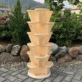 WSCQ A Set of 6 Vegetable Strawberry Stackable Planters, Stand Stacking Planters Strawberry Planting Pots with a Tray Multi Layer Balcony Stacking Melon Fruit Planting Pot,Beige