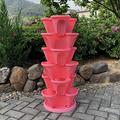 WSCQ A Set of 6 Vegetable Strawberry Stackable Planters, Stand Stacking Planters Strawberry Planting Pots with a Tray Multi Layer Balcony Stacking Melon Fruit Planting Pot,Pink