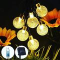 Solar String Lights Outdoor Waterproof,22.3 FT 40 LED Crystal Ball Fairy Lights Solar Powered& USB Plug-in Powered with 8 Lighting Modes for Indoor Outdoor Party Home Backyard Wedding (Warm White)