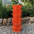 WSCQ A Set of 6 Vegetable Strawberry Stackable Planters, Stand Stacking Planters Strawberry Planting Pots with a Tray Multi Layer Balcony Stacking Melon Fruit Planting Pot,Red