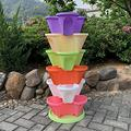 WSCQ A Set of 6 Vegetable Strawberry Stackable Planters, Stand Stacking Planters Strawberry Planting Pots with a Tray Multi Layer Balcony Stacking Melon Fruit Planting Pot,Multi Colored