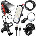 6 Pieces Bicycle Bike Accessories, USB Rechargeable Bike Headlight Light Set with Data Cable, Bicycle Lock Chain, 360 Rotation Bike Phone Mount, Bicycle Water Bottle Cage, Rearview Mirror, Bike Bell