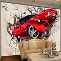 Custom Mural Wallpaper 3D red car Broken Wall Photo Wallpaper Cartoon Children Bedroom Living Room Mural Home decoration-150cmX105cm