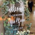 "Tamengi Welcome to Our Begining Personalized Clear Acrylic Welcome Sign, Wedding Welcome Sign Acrylic Wedding Board, Wedding Decor 18""x24"""