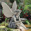 Sitting Fairy Garden Statues,Angel Girl Outdoor Statue Ornaments Angel Sculptures Garden Figures Figurines,Resin Craft Fairy Art Sculptures for Lawn Porch Pond Patio Yard Art-Flower fairy 14x8x14.8cm(