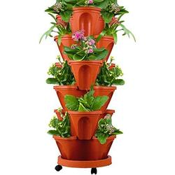 Stand Stacking Planters Strawberry Planting Pots,Vegetable Melon Fruit Planting Pot, Strawberry and Herb Garden Planter, Stand Stacking Planters Strawberry Planting Pots (Brick Red, 6 Tray +1 Basin)