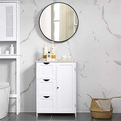Bathroom Cabinet, Wooden Storage Cabinet, Bathroom Storage Cabinet with 3 Drawers and 1 Door, Floor Cabinet for Bathroom, Entryway, Living Room and Bedroom, White