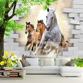 Custom Photo Wallpaper 3D Stereo Horse Broken Wall Mural Brick Wall Wallpaper Living Room TV Background Wall Mural Home Decor-430cmX300cm