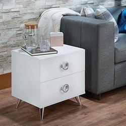 Henf Nightstand with 2 Drawers Contemporary Side Table Bedside Table, Wood Nightstand with Silver Tapered Legs for Bedroom Furniture, White