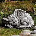 Large Dragon Gothic Garden Decor Statue - The Dragon of Falkenberg Castle Moat Lawn Garden Statue, Funny Outdoor Figurine, Yard Art, Resistant Statue for Garden, Garden Sculptures & Statues (E)