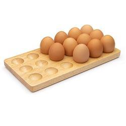 Wooden Egg Tray 18 Holder egg holder countertop, egg tray holder for Refrigerator, or Egg holder Countertop Storage. Egg tray, deviled egg tray, wooden egg holder for storage-Light Brown