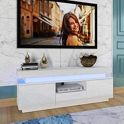 Kuhxz TV Stand, High-Gloss LED TV Cabinet Modern Light Luxury Storage Cabinet TV Cabinet Home Storage Cabinet with Clolorful Lights and Storage Drawer, Entertainment Center Living Room Furniture