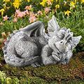 Large Dragon Gothic Garden Decor Statue - The Dragon of Falkenberg Castle Moat Lawn Garden Statue, Funny Outdoor Figurine, Yard Art, Resistant Statue for Garden, Garden Sculptures & Statues (D)