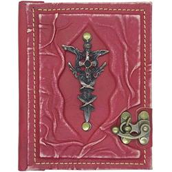 Knight Sword Ornamented Leather Notebook - Handmade Genuine Leather - Rustic Handmade Vintage Leather Bound Journals for Men and Women - Leather Book Diary Pocket Notebook, Red - 4.7x6 inch 240 pages