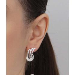 Azro Silver Women's Earrings Silver - Sterling Silver Abstract Wing Stud Earrings