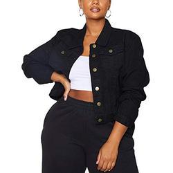 Jean Jacket Women Fitted Black Denim Jacket (S, Black washed fitted denim jacket)