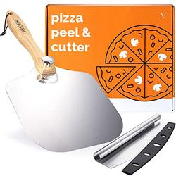 VM Aluminum Pizza Peel 12 Inch x 14 Inch w/Pizza Cutter KIT- Pizza Paddle - 12 Inch Pizza Peel - Pizza Spatula Paddle- Pizza Peel 14 Inch -Gourmet Luxury 12 Pizza Peel for Baking Homemade Pizza Bread