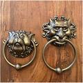 Labyrinth Door Knockers,Antique Bronze Lion Head Door Knocker,Decorative Front Door Knocker,Resin Gate Knocker Door Accessories,Front Door Handle Knobs (1set)