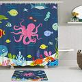 LUshop Shower Curtain Set Includes Bath Mat,Kids Octopus Cartoon Underwater Sea Animal Fish Deep Ocean Sea Turtle Shrimp Blue,for Bathroom Fabric Waterproof Shower Curtain Non-Slip