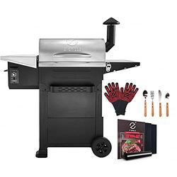 Z GRILLS Wood Pellet Grill Smoker for Outdoor Cooking, 8-in-1(Brown) & Pid Controller-ZPG-L6002E Bonus#1,including ZGRILLS Grill Gloves, Tool sets, BBQ Grill mat/10pcs
