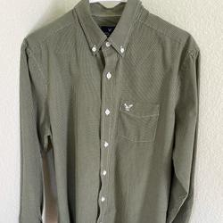 American Eagle Outfitters Shirts   American Eagle Outfitters Ls Button Shirt Sz M   Color: Green/White   Size: M