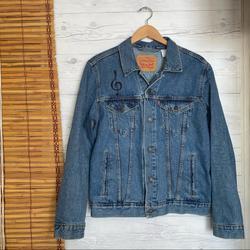 Levi's Jackets & Coats | Levis Jean Jacket Denim Embroidered Music | Color: Blue | Size: M