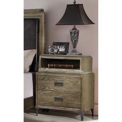 Loon Peak® Night Stands For Bedrooms, Weathered Oak Nightstand w/ 2 Drawers & Shelf in Brown/Green, Size 30.0 H x 23.62 W x 17.0 D in | Wayfair