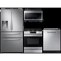Samsung Food Showcase 4-Door Refrigerator + Slide-in Gas Range with Air Fry + StormWash Dishwasher + Microwave in Stainless Steel, Silver