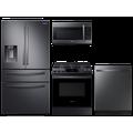 Samsung 23 cu. ft. counter depth 4-door refrigerator, gas range, microwave and 48 dBA modern-look dishwasher package(BNDL-1614028389122)