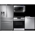 Samsung 23 cu. ft. counter depth 4-door refrigerator, 6.3 cu. ft. electric range, 2.1 cu. ft. microwave and 48 dBA dishwasher package