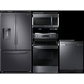 Samsung Large Capacity 3-door Refrigerator + Gas Range with Convection + StormWash Dishwasher + Microwave in Black Stainless(BNDL-1604349358843)
