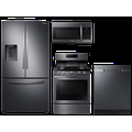 Samsung 3-door Family Hub Refrigerator + Slide-in Electric Range with Wi-Fi + StormWash Dishwasher + Microwave in Stainless Steel, Silver