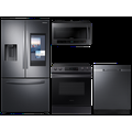 Samsung 3-door Family Hub Refrigerator + Slide-in Electric Range with Wi-Fi + StormWash Dishwasher + Microwave in Black Stainless