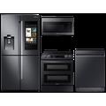 Samsung Family Hub 4-Door Flex Refrigerator + Flex Duo Slide-in Electric Range + Linear Wash Dishwasher + Microwave in Black Stainless