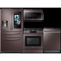 Samsung 22 cu. ft. counter depth 4-door Family HubTM refrigerator, gas range, 2.1 cu. ft. microwave and Smart Linear dishwasher package