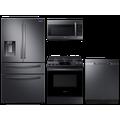 Samsung 23 cu. ft. counter depth 4-door refrigerator, gas range, microwave and 48 dBA dishwasher package(BNDL-1614028040810)