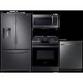 Samsung 23 cu. ft. counter depth 4-door refrigerator, 6.3 cu. ft. electric range, microwave and 48 dBA dishwasher package(BNDL-1614004843395)