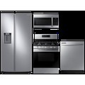 Samsung Large capacity Side-by-Side refrigerator & gas range package in Black stainless(BNDL-1590167937972)