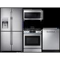 Samsung Family Hub 4-Door Flex Refrigerator + Flex Duo Slide-in Electric Range + Linear Wash Dishwasher + Microwave in Stainless Steel, Silver