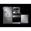 Samsung Large Capacity 3-door Refrigerator + Gas Range + StormWash Dishwasher + Microwave Kitchen Package in Stainless Steel, Silver
