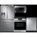 Samsung 3-door Family Hub Refrigerator + Slide-in Gas Range with Wi-Fi + StormWash Dishwasher + Microwave in Stainless Steel, Silver
