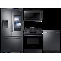 Samsung 3-door Family Hub Refrigerator + Slide-in Gas Range with Wi-Fi + StormWash Dishwasher + Microwave in Black Stainless(BNDL-1604351339428)